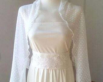 White bridal bolero with sleeves,stretch,shrug nupcial,tul plumetti