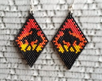 Large beaded earrings, End of the Trail, Matte glass Japanese delica beads, Hand stitched, Gift for her, Pow Wow style, Tribal earrings