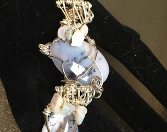 Double Sendrite Opal Pendant with decorative Dendrite Opal Chips