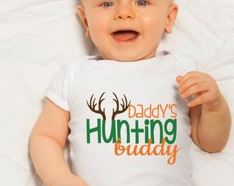 Daddy's Hunting Buddy Baby Bodysuit; Hunting Baby Clothes; Baby Onesie; Bring Home Outfit