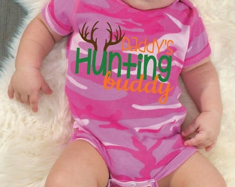 Daddy's Hunting Buddy Baby Pink Camo Bodysuit