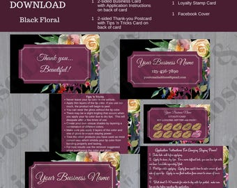 BUSINESS BRANDING KIT Black Floral - Digital Download - LipSense Business Cards - Application Instructions - Loyalty Cards - Thank You Cards