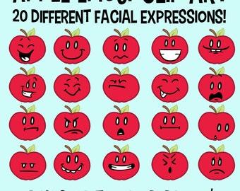 Apple Clip Art, Emoticon Clip Art, Facial Expressions, Face Clipart, Emoji Clip Art, Fruit Clip Art, Classroom Download, Back 2 School Apple