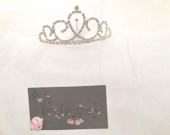 Bachelorette Veil, Wedding tiara, Princess Tiara, Bridal Veil, Bridal tiara, Birthday Tiara, Bachelorette Party, Wedding, Bride, future Mrs