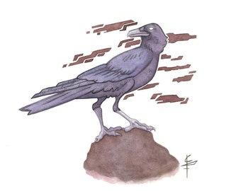 Crow - watercolor crow, animal print, crow print, watercolor print, nature