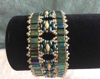 Downton Abbey Style Bracelet in Green & Gold