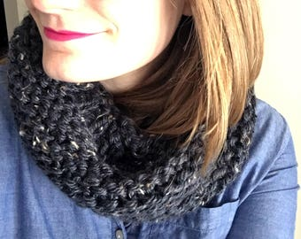 Gray Chunky Knit Infinity Scarf