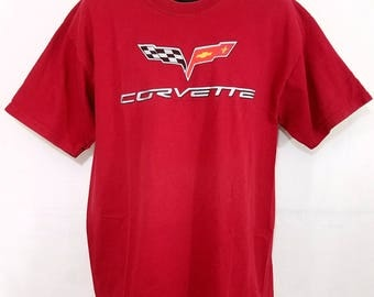 Corvette Racing T Shirt Checkered Flag Spell Out Mens Size Large