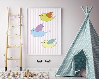 Digital birds * Beautiful poster * 4 children's room * Yellow, green, blue birds * Cute, colorful birds * Funny birds * Merry Gallery *