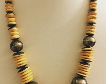 Wood and Silver Statement Necklace