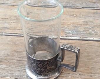 Vintage Russian Tea cup with Niello Silver Base / Samovar