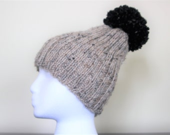 HANDMADE Ribbed Hat with Pom-Pom