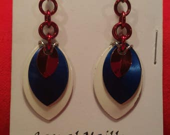 White/Blue/Red 3 Graduated Scale Earrings