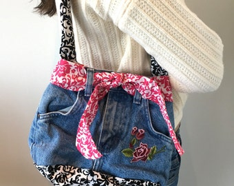 Pink and Black Damask Jean Purse