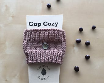 SALE! Hand knit Cup Cozy with charm | Coffee Sleeve | Eco Friendly  | Reusable | Brown | & | Dangling Charm