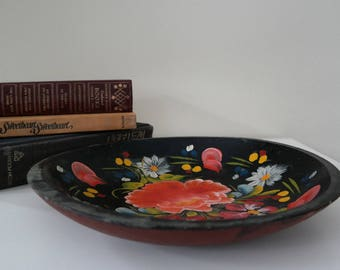 Vintage Black, Floral Wooden Bowl from 1939 - Home Decor - Coffee Table - Colorful - Spanish Style - Hand painted - Statement piece - holder