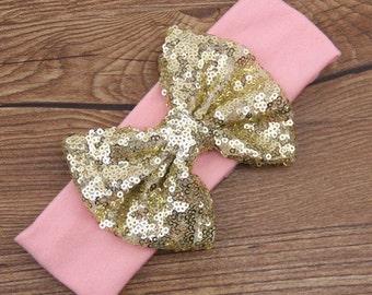 Infant soft pink headband, Sequins bow