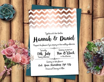 Copper Chevron Printable Wedding Invitation Set