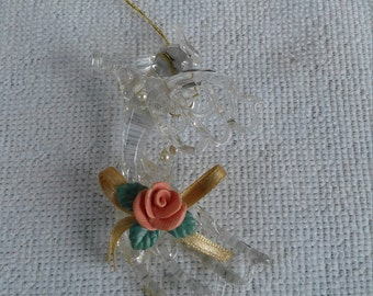 Beautiful Vintage Terry's Village Spun Glass Angel with Horn and Pink Flower Christmas Ornament