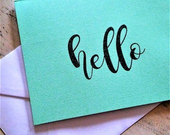 """4 Count Mint  """"Hello"""" Cards (With Envelopes)"""