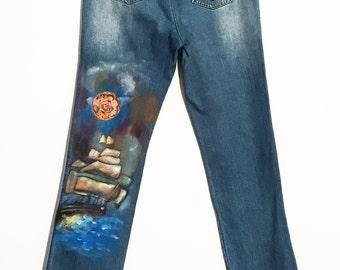 Painted jeans handmade