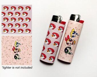 POWERPUFF GIRLS! 2 Waterproof Vinyl Lighter Stickers For Standard BIC Lighter Size With Powerpuff Girl Telephone Floral Pattern
