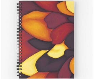 Art notebook for writing journal - paint Fleur purple petals red orange - spiral art print office accessory