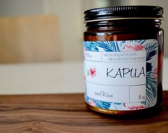 Okai Kapua Hawaiian Scented Amber Glass Soy 8 oz Candle, Wood Wick, Candle Gift, Plumeria Flower Scented
