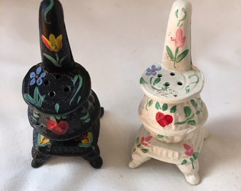 Vintage Hand Painted Cast Iron Salt and Pepper Shakers  - Wood Burning Stoves
