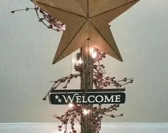 Lighted Star Post Barn Star Pip Berry Garland Country Decor Primitive Decor Rustic