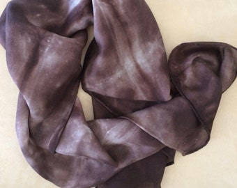Silk & Wool scarf hand dyed with brown dye