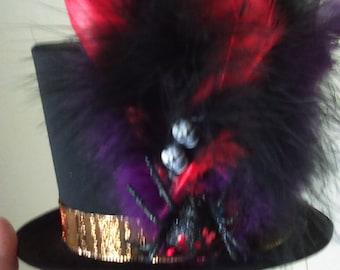 Skull & spider mini top hat