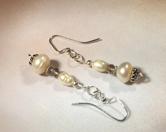 The Margaret : freshwater pearls and swarovski crystals with silver spacers