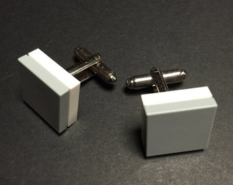 Lego cuff links - Light Grey on White
