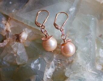 """Pearl Earrings """"rose cream"""" Claudia """""""