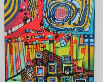 "Silk picture after Hundertwasser ""Moutain climbing mountains"""