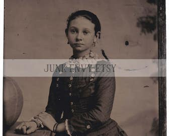 Antique Tintype Photograph . Civil War Era Young Girl . Digital Download . High Resolution Scan