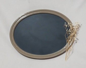 Tan Oval Chalkboard | Glass Upcycled Chalkboard