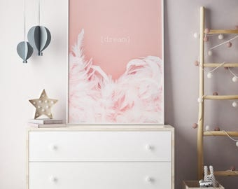 Pink feathers print, Dream print, Pink nursery print, Feather print, Nursery print, Girls room art, Pastel Pink, Pink poster, Nursery poster