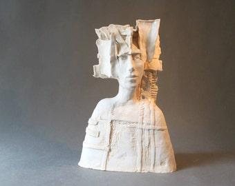Ceramic Sculpture , A Man's Bust , Ceramic Art , Fine Art Ceramic , Unique Clay Sculpture , Art Object , Handmade Ceramic Sculpture, Pottery