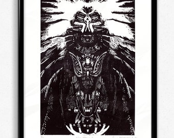 The Shaman, Forest Spirit (Linoprint)