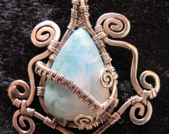 Handmade jewelry, wire wrapped silver stone pendant