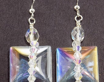 large square iridescent glass beads, Swarovski elements, sparkling clear, glamours, special occasion, elegant