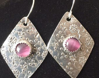 Silver Earrings with Purple Cats Eye Cabochons