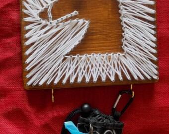 String art white hound dog leash holder