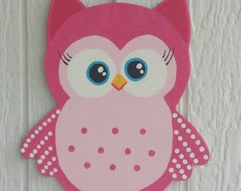 Bright Pink/Blue Owl Wall Art Hand Painted Child's Room Decor