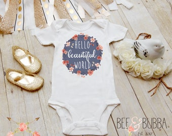 Hello World Onesie®, Boho Onesie, Boho Baby Clothes, Floral Onesie, Baby Shower Gift, Cute Bodysuit, Take Home Outfit, Bee & Bubba