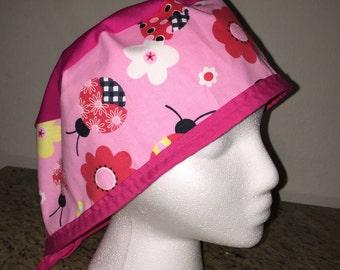 Pink lady bug scrub cap