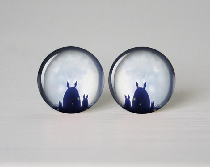 My neighbor Totoro earrings, Totoro post earrings, Totoro stud earrings, geekery, 12mm 14mm