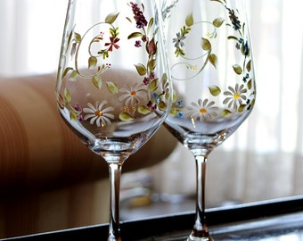 Wine initials into lily pattern (pink or blue)